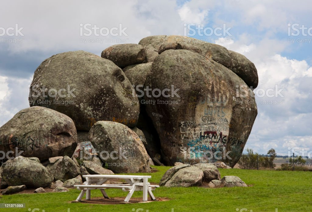 Graffiti covered Thunderbolt's Rock and Picnic Table royalty-free stock photo
