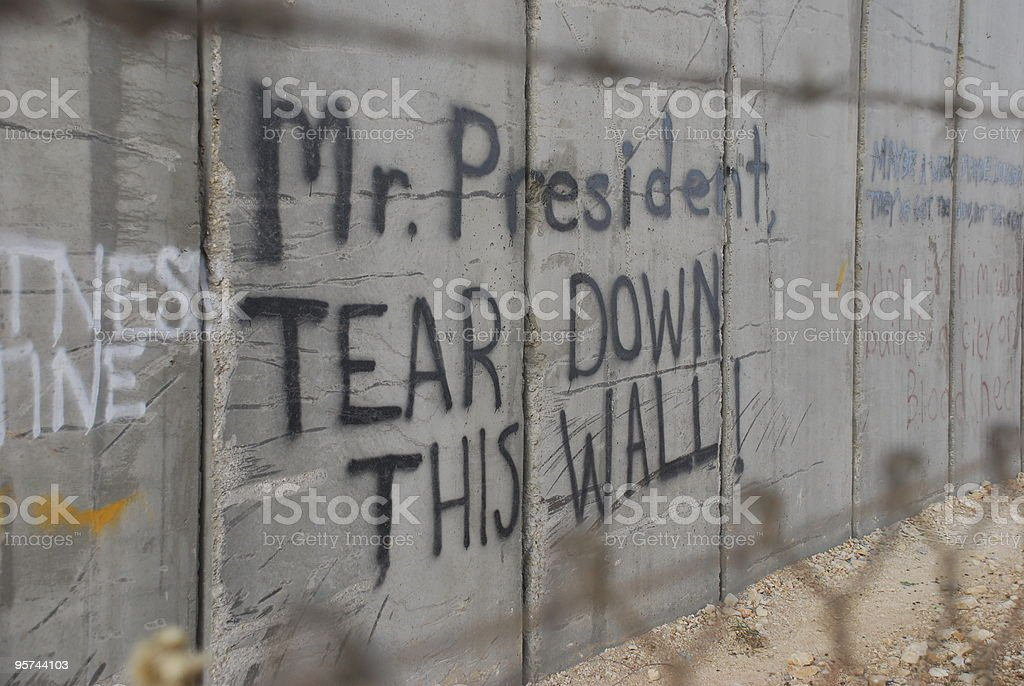 Graffiti in Bethlehem referencing Ronald Reagan in Berlin royalty-free stock photo