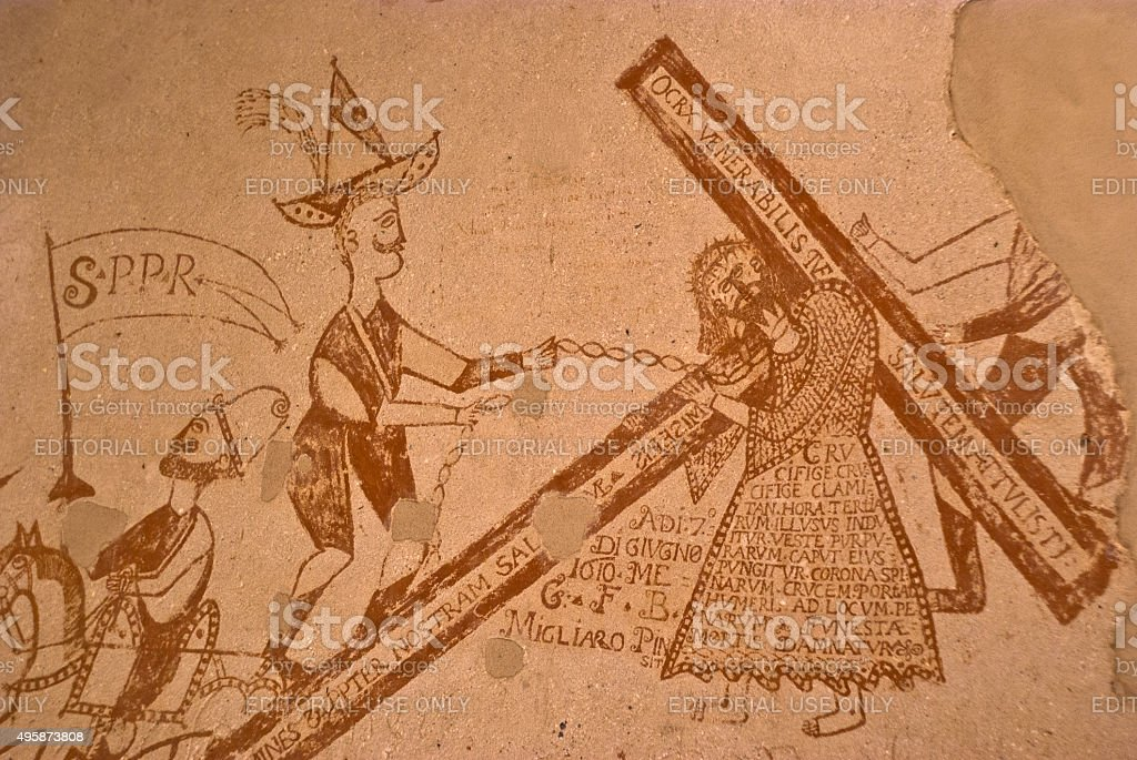 graffiti in the dungeons of the Inquisition in Palermo stock photo