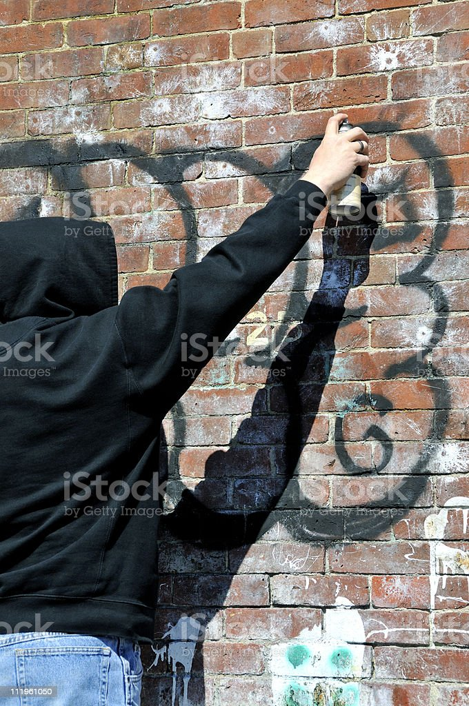 Graffiti Man at Work royalty-free stock photo