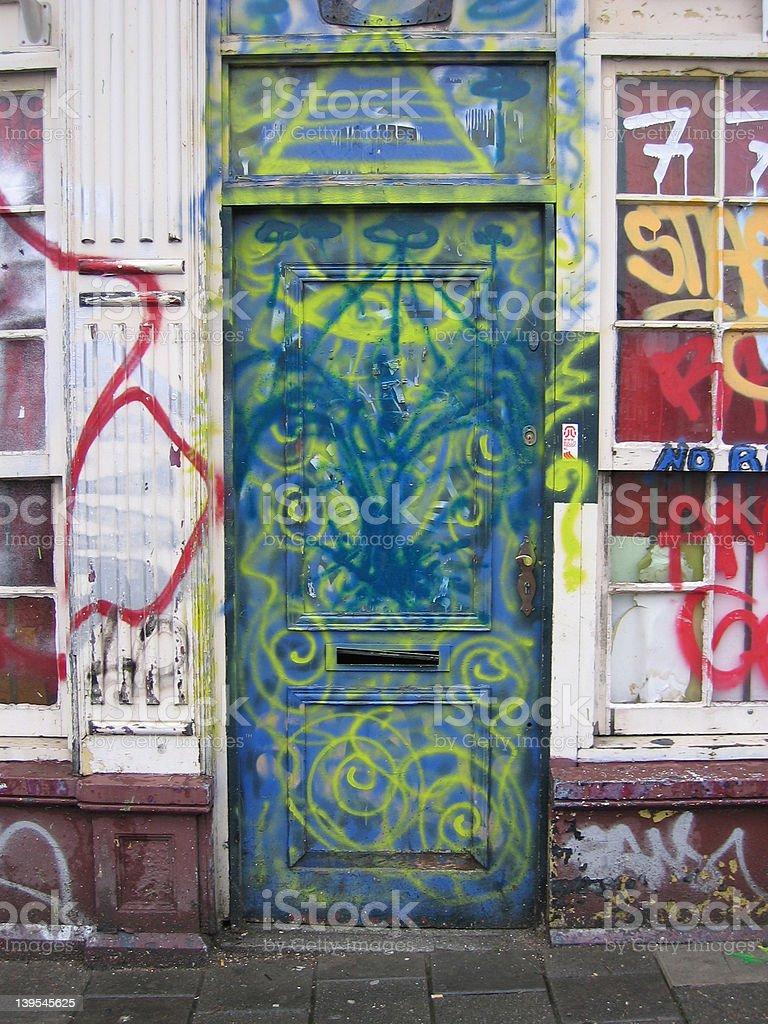 Graffiti on a door royalty-free stock photo