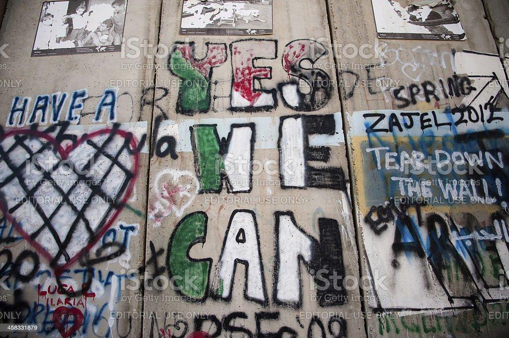 Graffiti on Israeli separation wall royalty-free stock photo