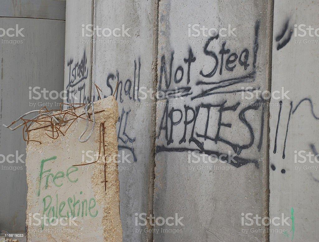 Graffiti on Israeli wall in Bethlehem, West Bank royalty-free stock photo
