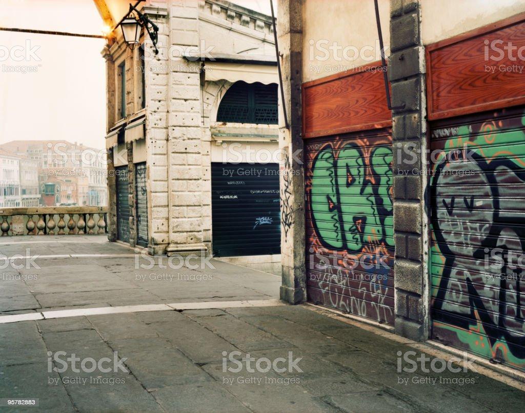 Graffiti on Ponte Rialto in Venice, Italy stock photo