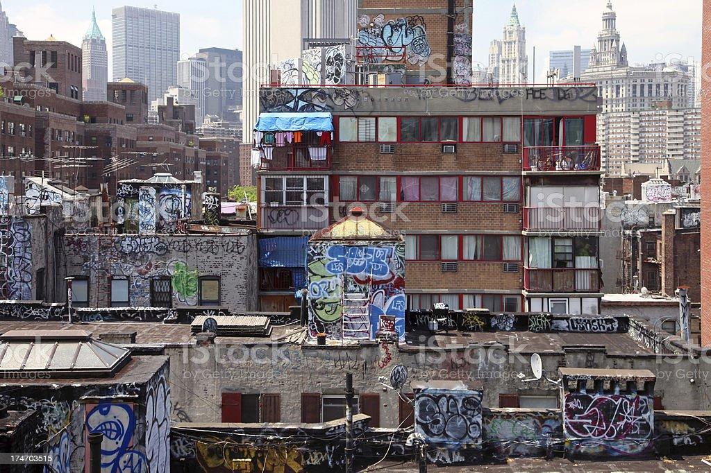 Graffiti On Rooftops, New York City stock photo
