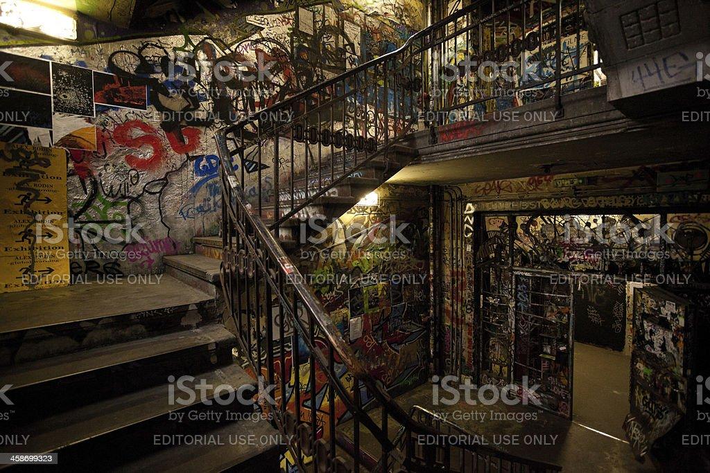 Graffiti on Squattered Palace in Berlin, Art House Tacheles, Germany stock photo