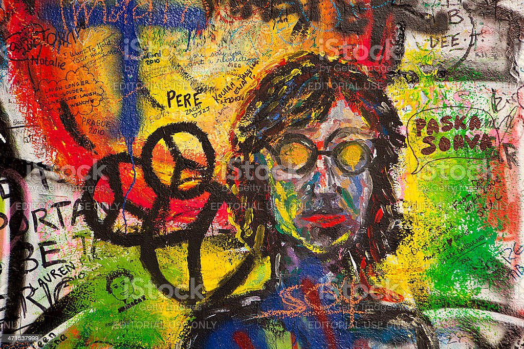Graffiti On The Lennon Wall stock photo