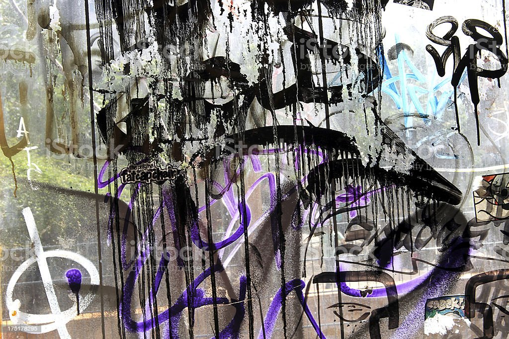 Graffiti on windows from Arthouse Tacheles in Berlin, Germany.  (Series) stock photo