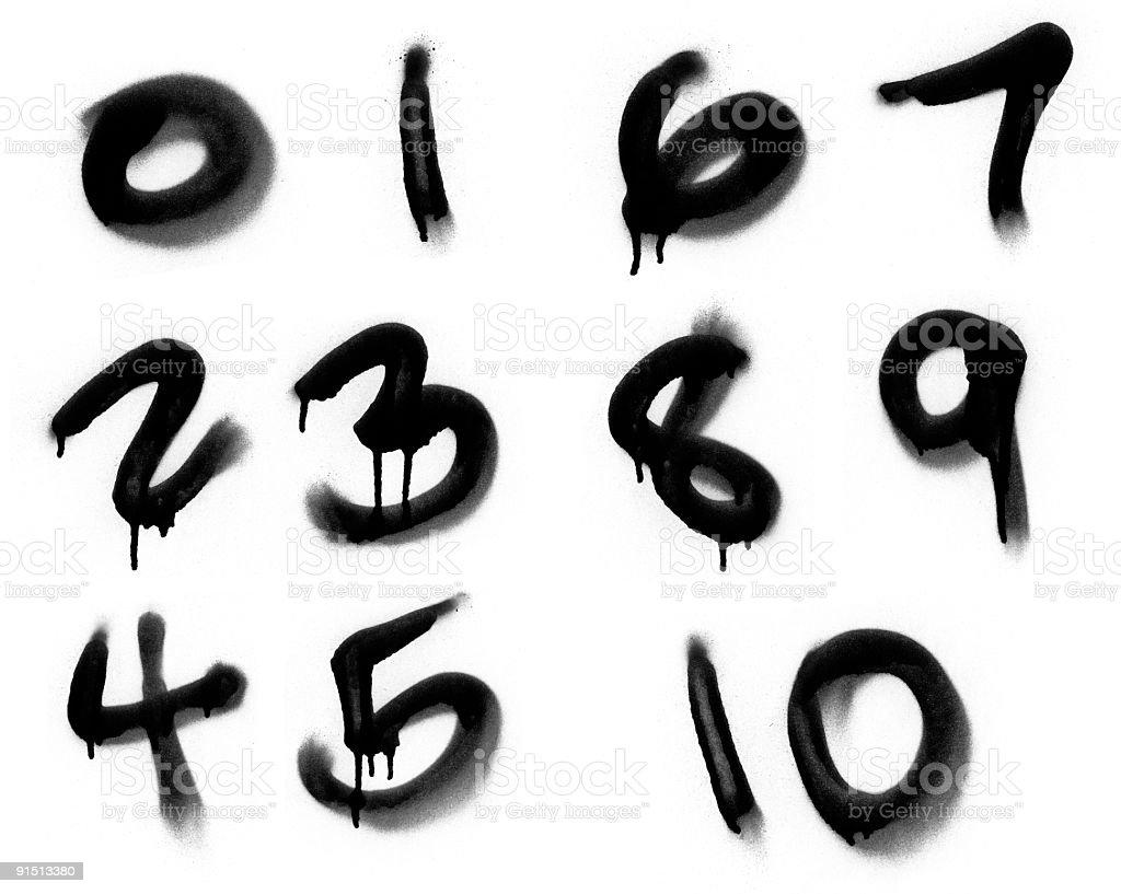 Graffiti Spray Painted Numerics royalty-free stock photo
