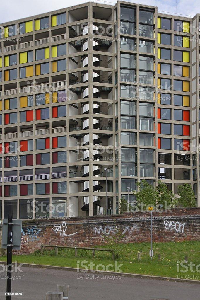 Graffiti wall and redeveloped ParkHill Flats stock photo