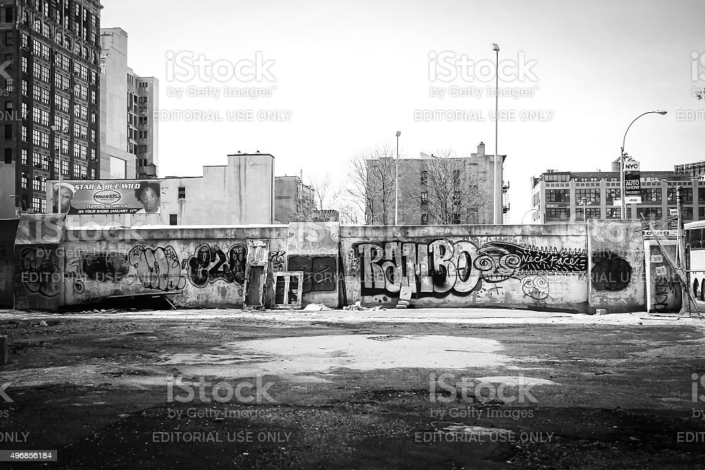 Graffiti wall in Manhattan bw stock photo