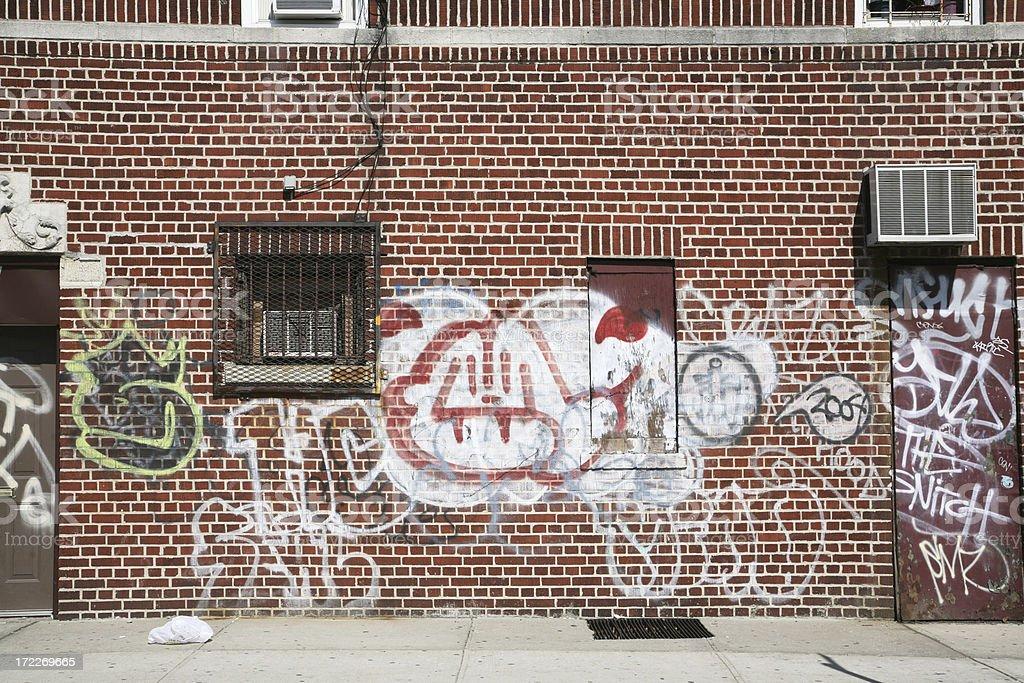 Graffiti-Covered Wall And Door royalty-free stock photo