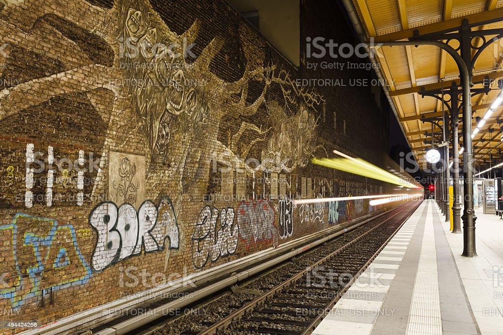 Graffitti in Savigny Platz Station in Berlin stock photo