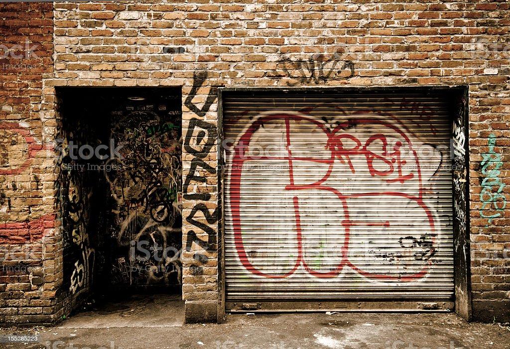 Grafitti in alley at Victoria, British Columbia royalty-free stock photo