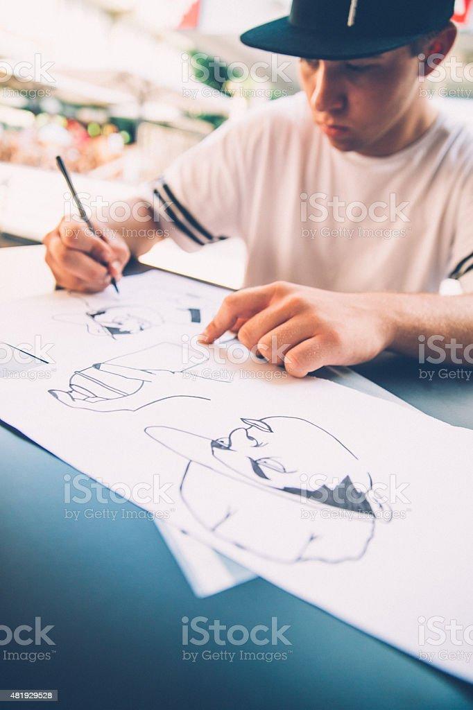 Grafitti sketch stock photo