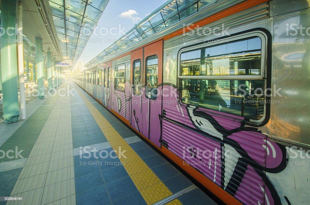 Grafittied train stock photo