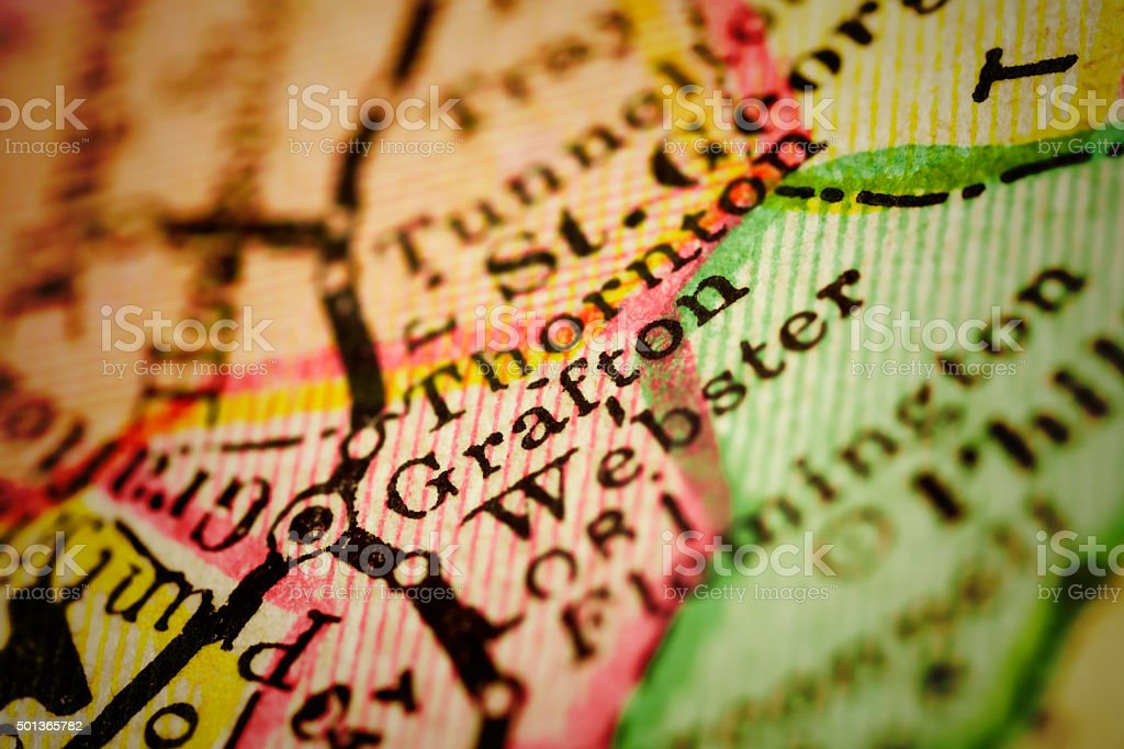 Grafton, West Virginia on an Antique map stock photo