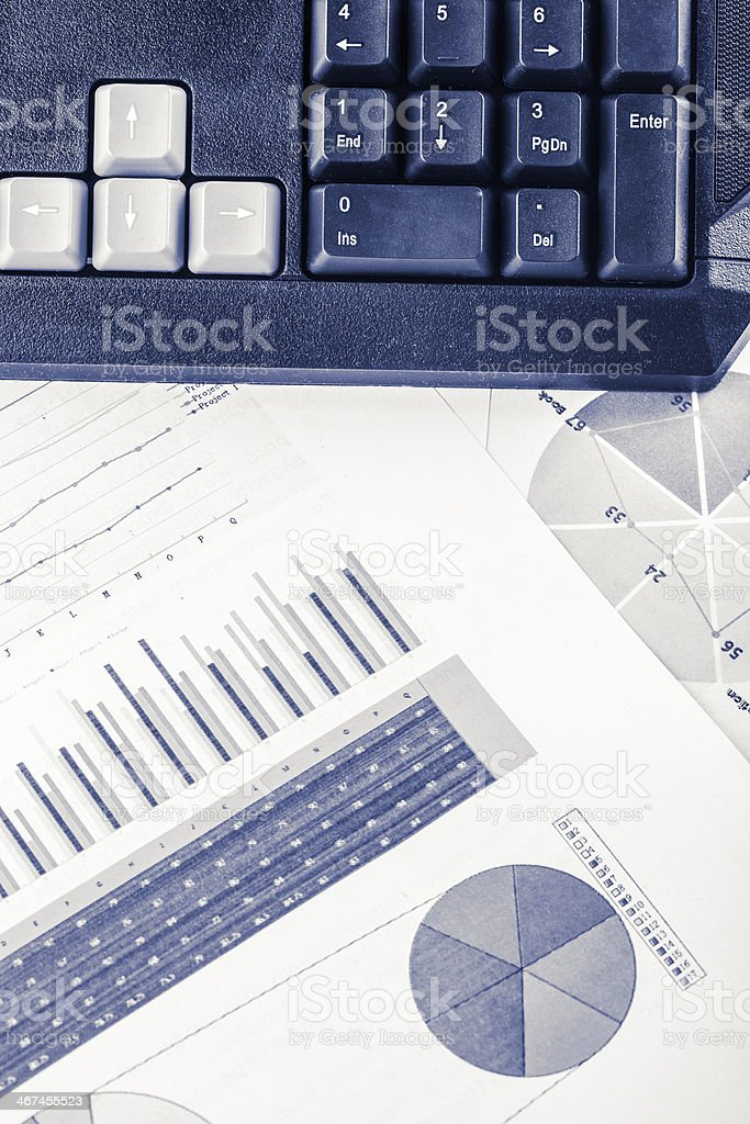 grahpy data with keyboard stock photo
