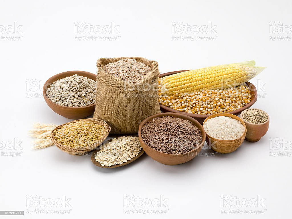 Grain and cereal composition stock photo