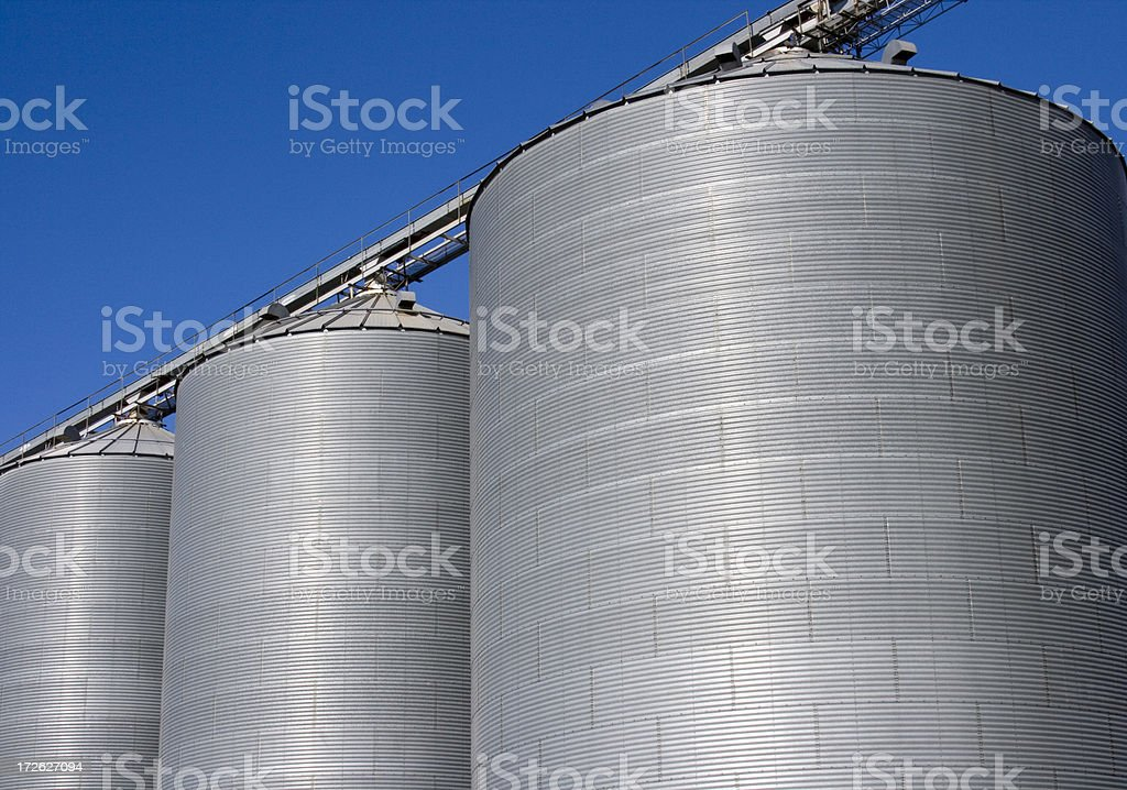 Grain Bins, Agricultural Industry Storage Containers Under Blue Sky royalty-free stock photo