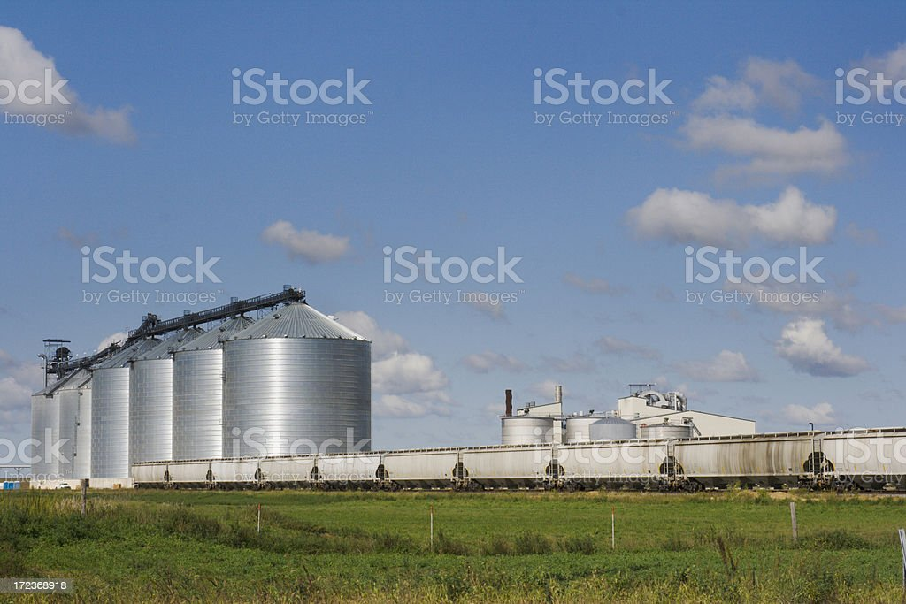 Grain Bins, Elevator Silos by Freight Train Cars, Railroad Tracks royalty-free stock photo