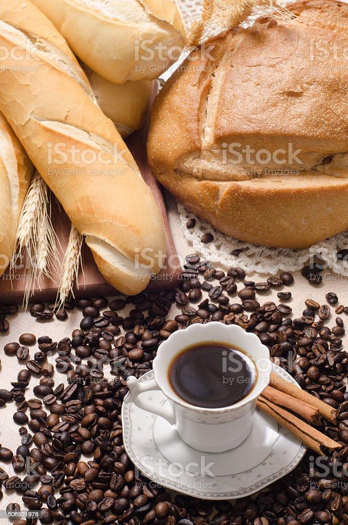 grain bread and cup stock photo