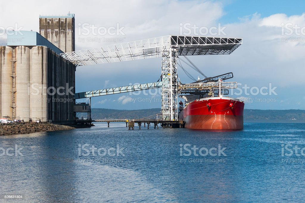 Grain carrier ship at terminal stock photo