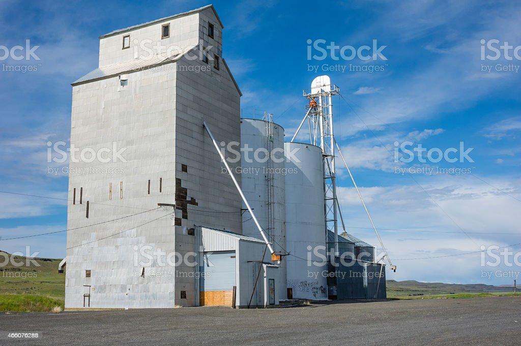 Grain elevator and storage silo stock photo