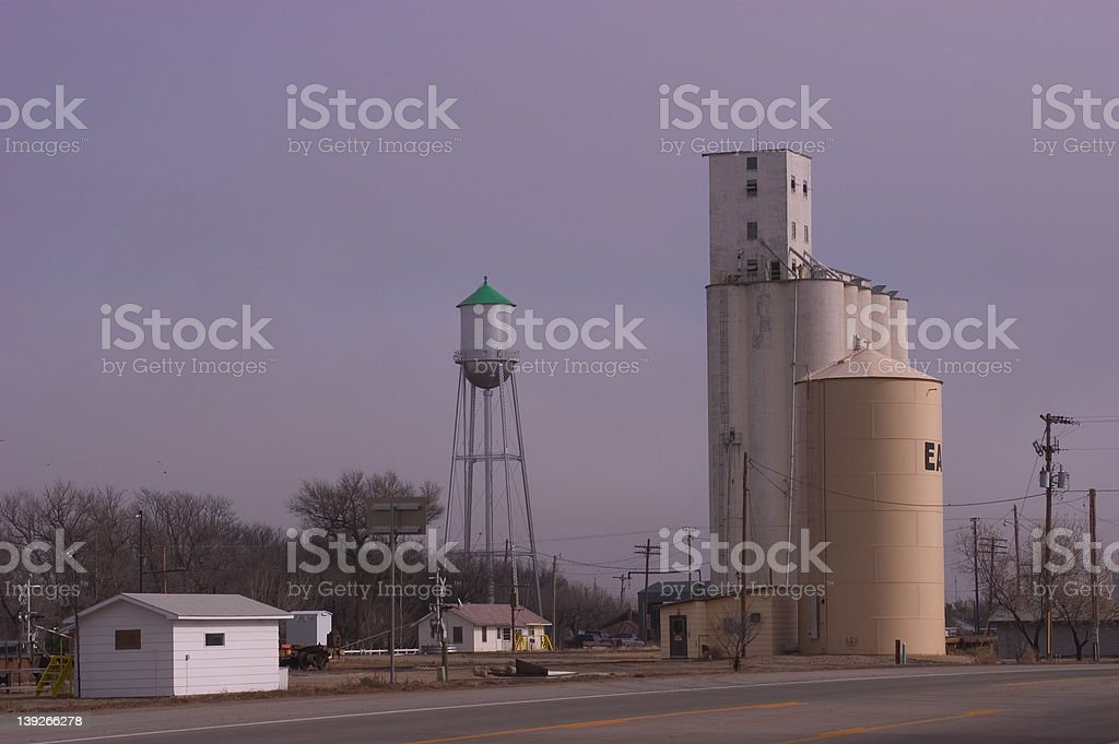 Grain elevator in small town royalty-free stock photo