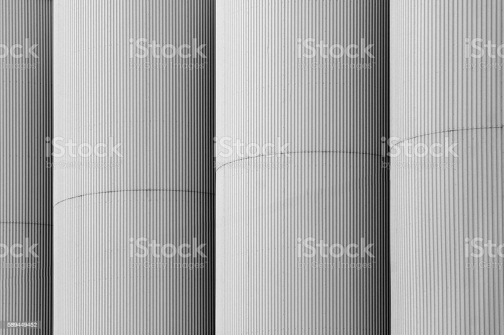 Grain elevator towers closeup stock photo