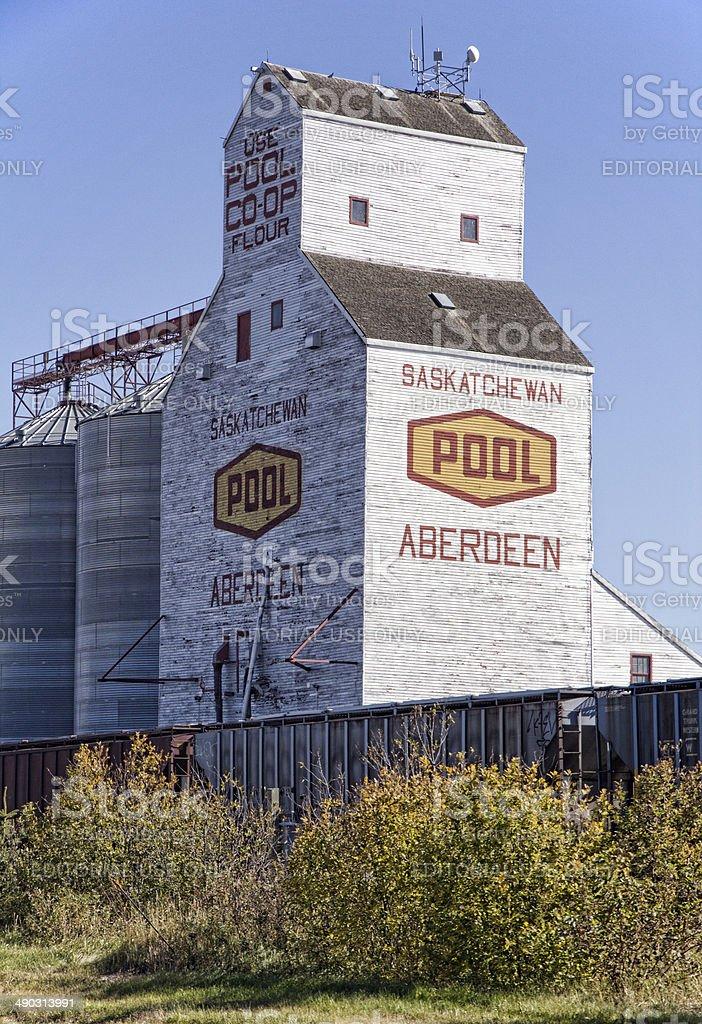 Grain Elevator With Saskatchewan Pool Logo and Aberdeen on Siding stock photo