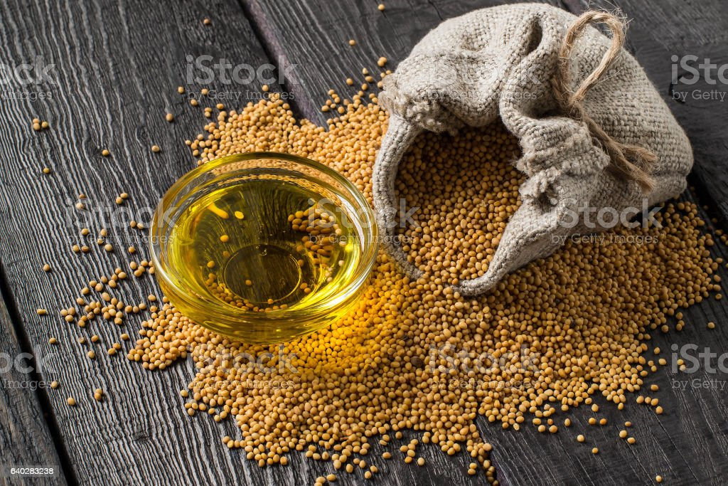 Grain mustard in the bag and mustard oil in bowl stock photo