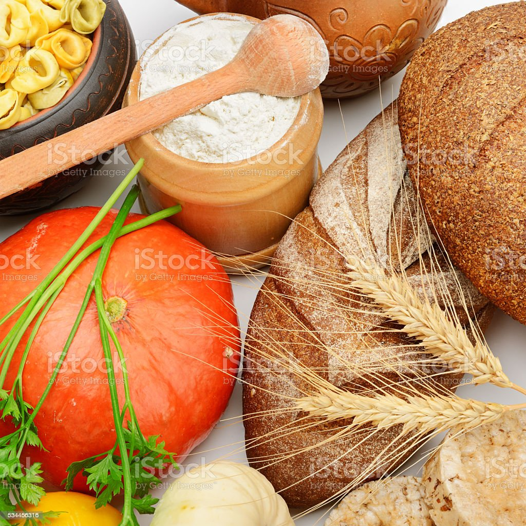 grain products and vegetables stock photo