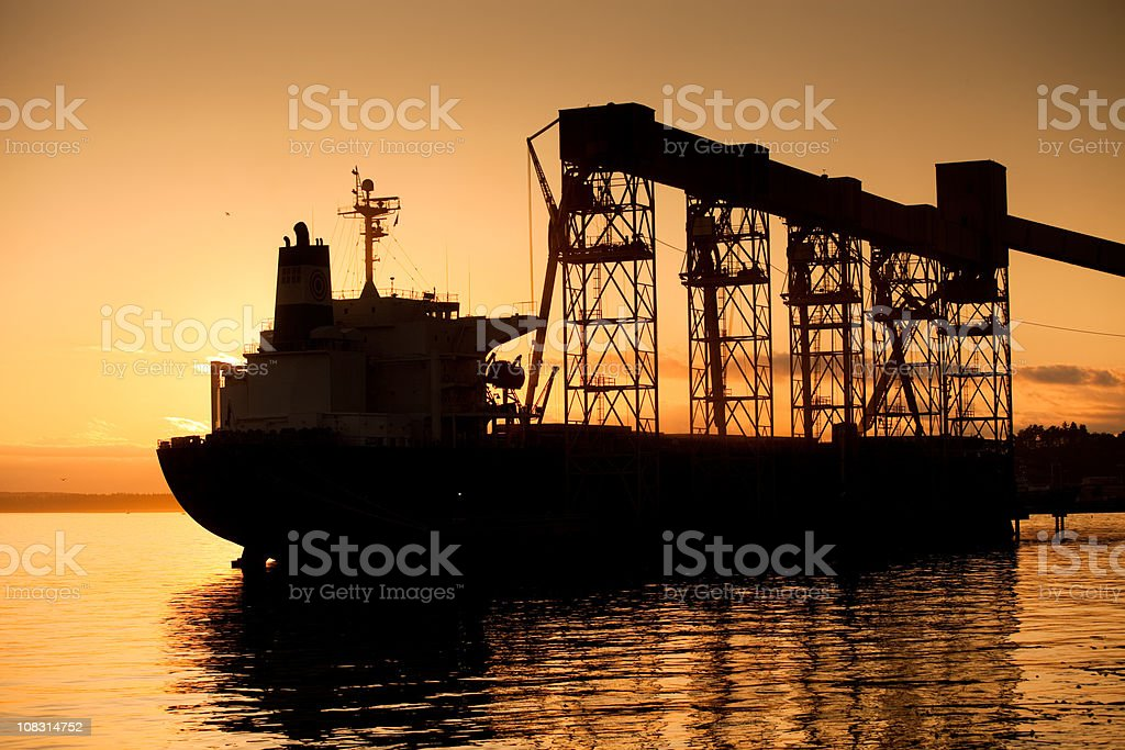 Grain Ship Being Loaded royalty-free stock photo