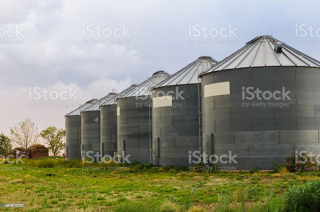 Grain silo bins stock photo