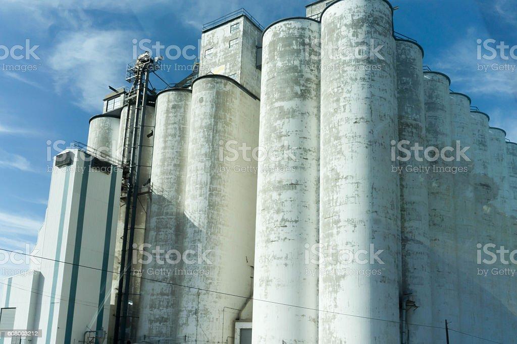 grain silo stock photo