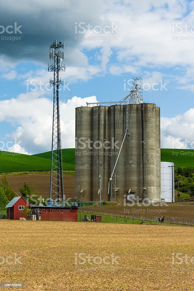Grain silo with a cell phone tower stock photo