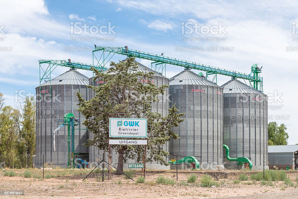 Grain silos at Rietrievier stock photo