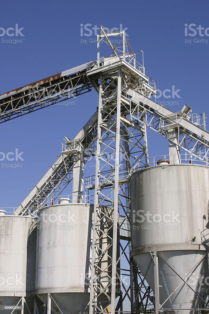 Grain Silos in New Orleans Port royalty-free stock photo