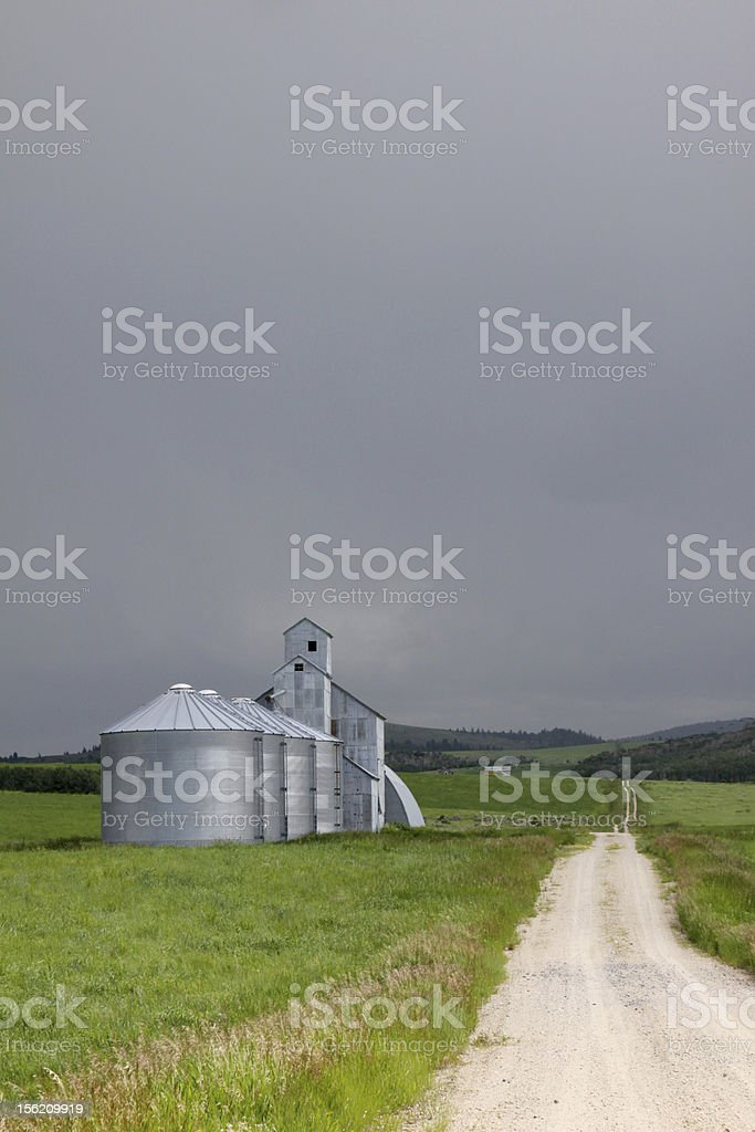 Grain Silos on a Dry Farm in Idaho royalty-free stock photo