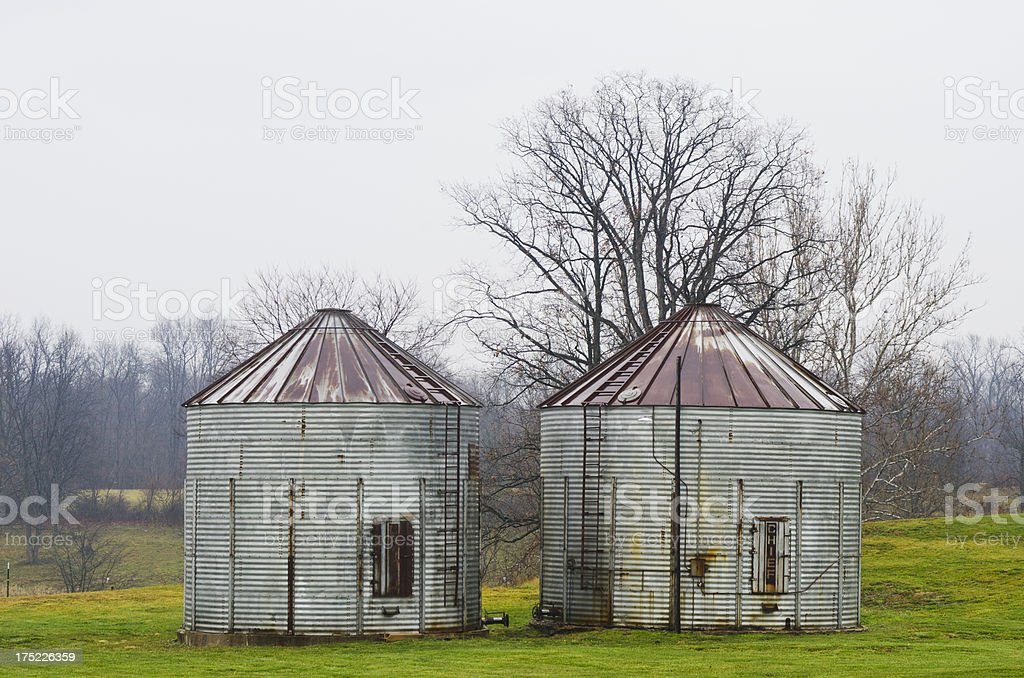 Grain Silos on a Winter Day royalty-free stock photo