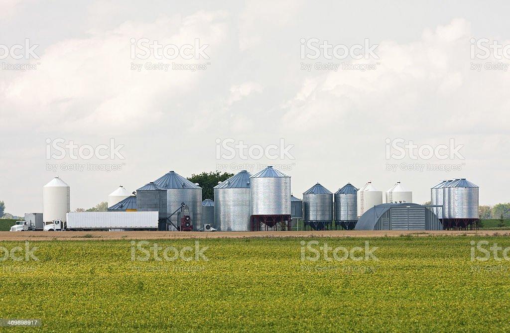 Grain Storage Bins on a Grain Farm stock photo