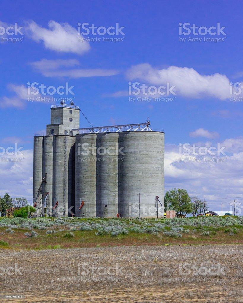 Grain storage facility with silos stock photo