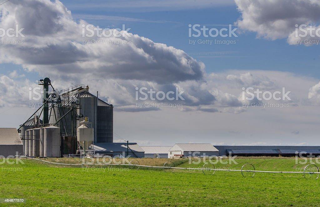 Grain storage silos and mill stock photo