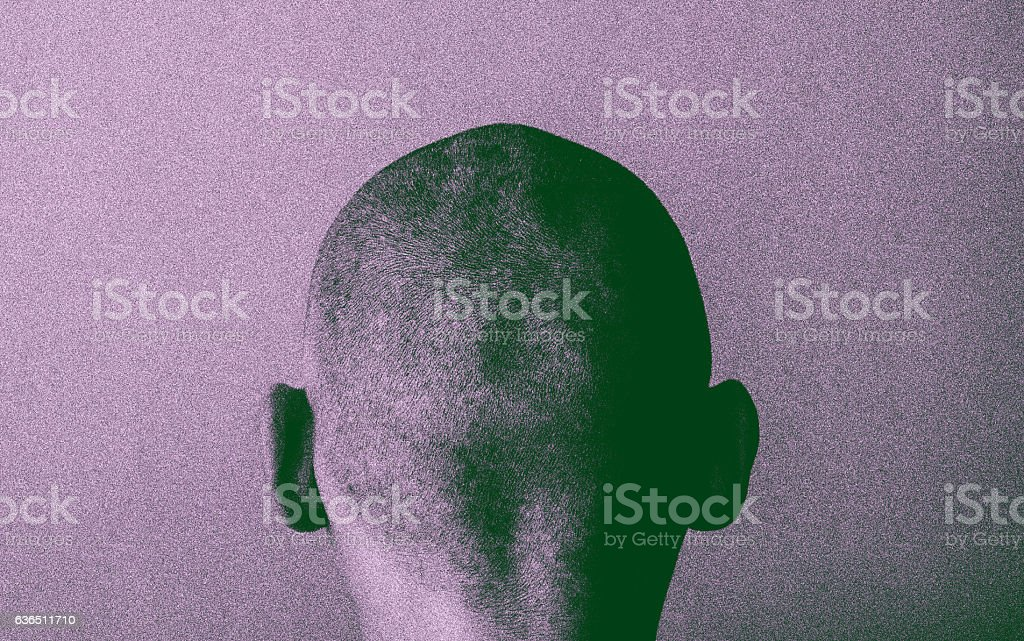 Grained skinhead angry man stock photo