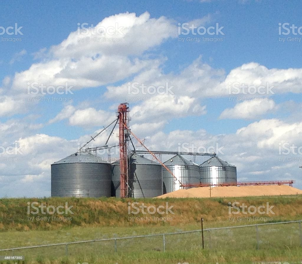 Graineries of grain overflowing on a summer day stock photo