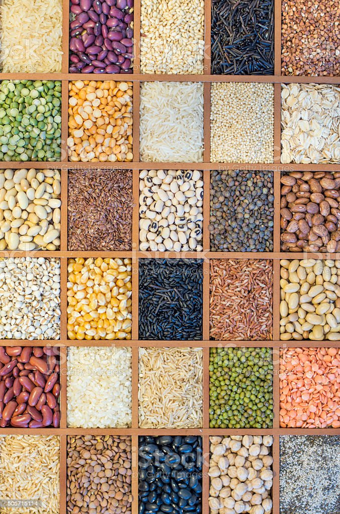 Grains and broad beans stock photo