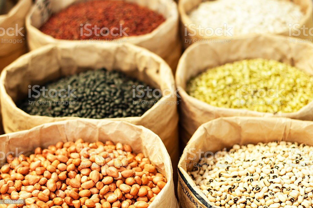 Grains for sale at the market stock photo