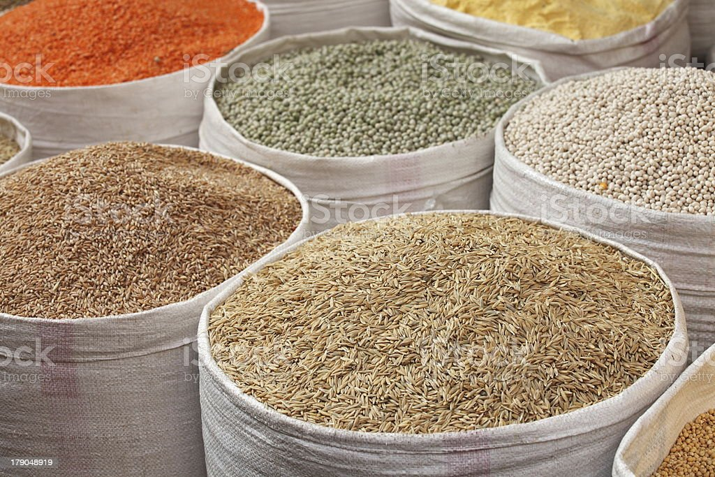 Grains for sale royalty-free stock photo
