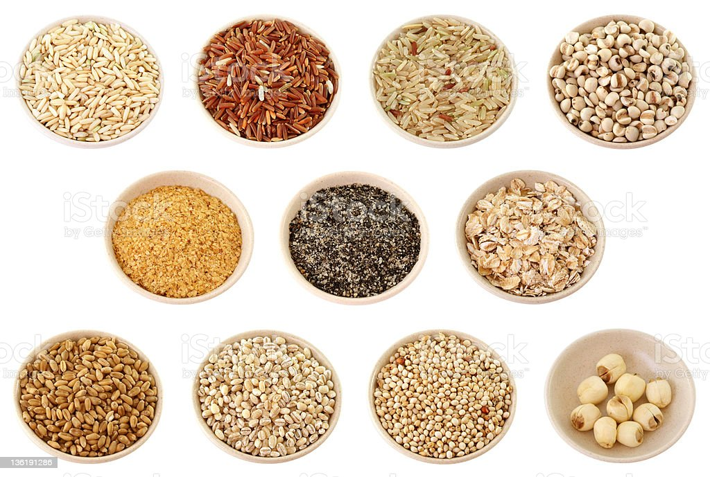 Grains XXL: Rice,Wheatgerm,Sesame,Oats,Wheat,Barley stock photo